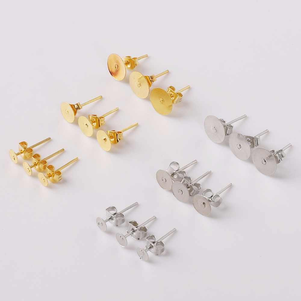 100Pcs/Pack Dia 4 6 8mm*12mm Gold/Rhodium Color Stud Earring Spacer with Earring Plug Findings Earring Back for Jewelry Making