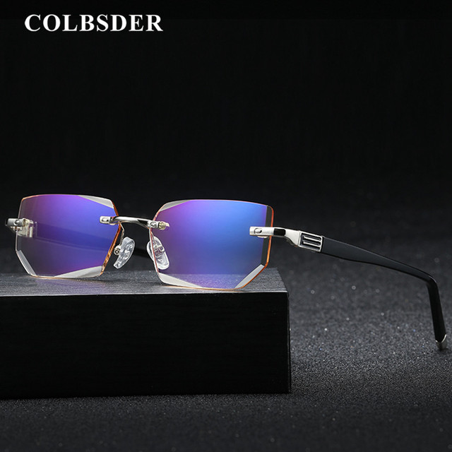 Luxury Reading Glasses Men Women Diamond Cut Resin Clear HD Lens Anti Blue Light Glasses Rimless Diopter +1 To +4 Eyeglasses