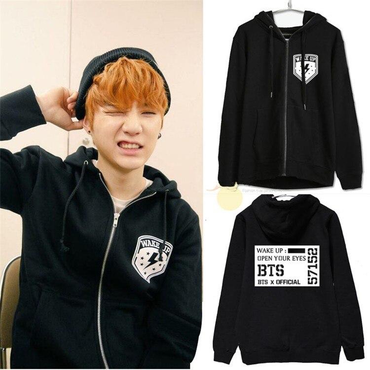 Kpop BTS Bangtan SUGA enfants automne et hiver zipper capuche en molleton veste BTS k-pop V à capuche sweat-shirt baseball manteau