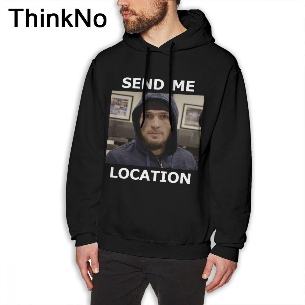 Khabib Nurmagomedov UFC Send Me Location Hoodies For Man Vintage  O-neck BONADIAO Plus Szie  Sweatshirt