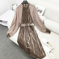 Autumn winter women dress vestidos Elegant retro velvet dress Chiffon Lantern Sleeve sexy Mandarin Collar strap pleated dress
