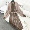 Outono inverno mulheres dress vestidos retro elegante velvet dress chiffon lanterna manga sexy mandarim collar strap plissada dress