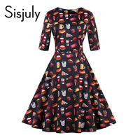 Sisjuly Vintage Autumn Dresses Women Cute Floral Food Print 1950s Style A Line Mid Calf Party