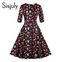 Sisjuly Vintage Autumn Dresses Women Cute Floral Food Print 1950s Style A Line Mid Calf Party