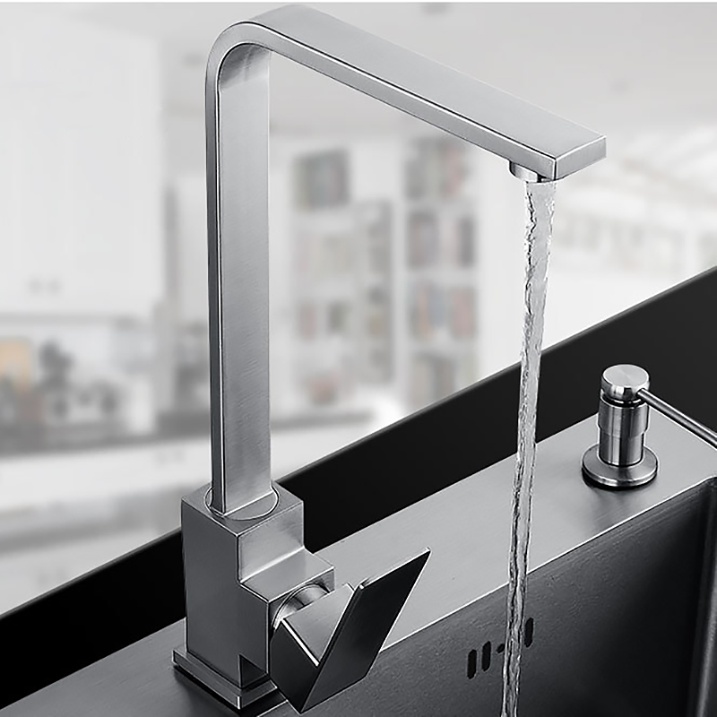 Square Design Stainless Steel Kitchen Faucet Mixer Sink Faucet Surface Brushed Water Tap 360 Degree Rotation Free Shipping цена и фото