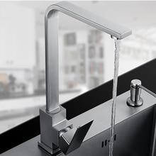 Квадратная конструкция из нержавеющей стали смеситель для кухни раковина кран поверхность щеткой водопроводной воды Бесплатная доставка