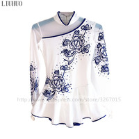 Figure Skating Dress Women's Girls' Ice Skating Dress White long sleeves Blue and white porcelain style Blue lace adornment