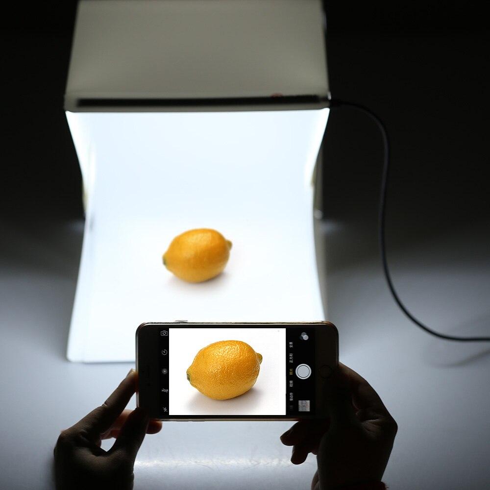 Lerbyee plegable Lightbox Photo Studio LED escritorio estudio portátil fotografía Lightbox estudio para Smartphone DSLR Cámara