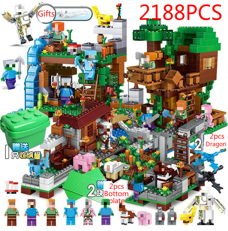 My World Stone House Adventure Tree Building Blocks Bricks Figures Educational Toys For Children Compatible Legoed Minecrafted Blocks