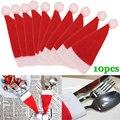 10 шт./компл.  Рождественская шляпа  сумка для столовых приборов  подарочные сумки конфет  милый Карманный Держатель ножей  украшение для стол...