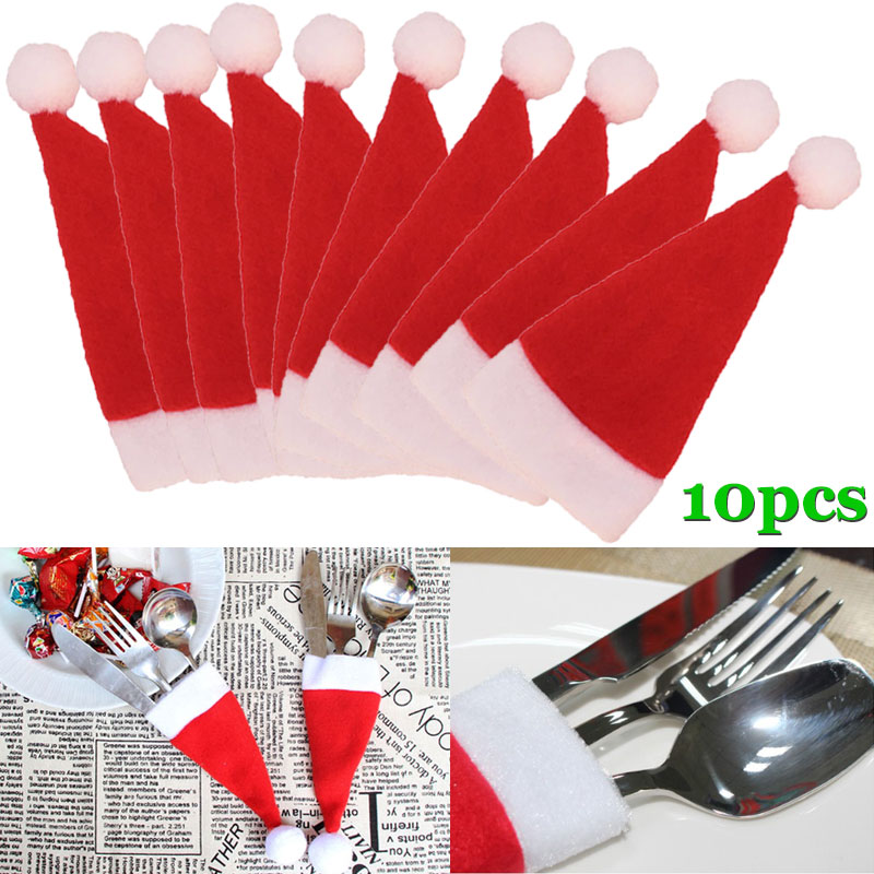 10 Pcs/Set Christmas Hat Cutlery Bag Candy Gift Bags Cute Pocket Fork Knife Holder Table Dinner Decoration  J2Y