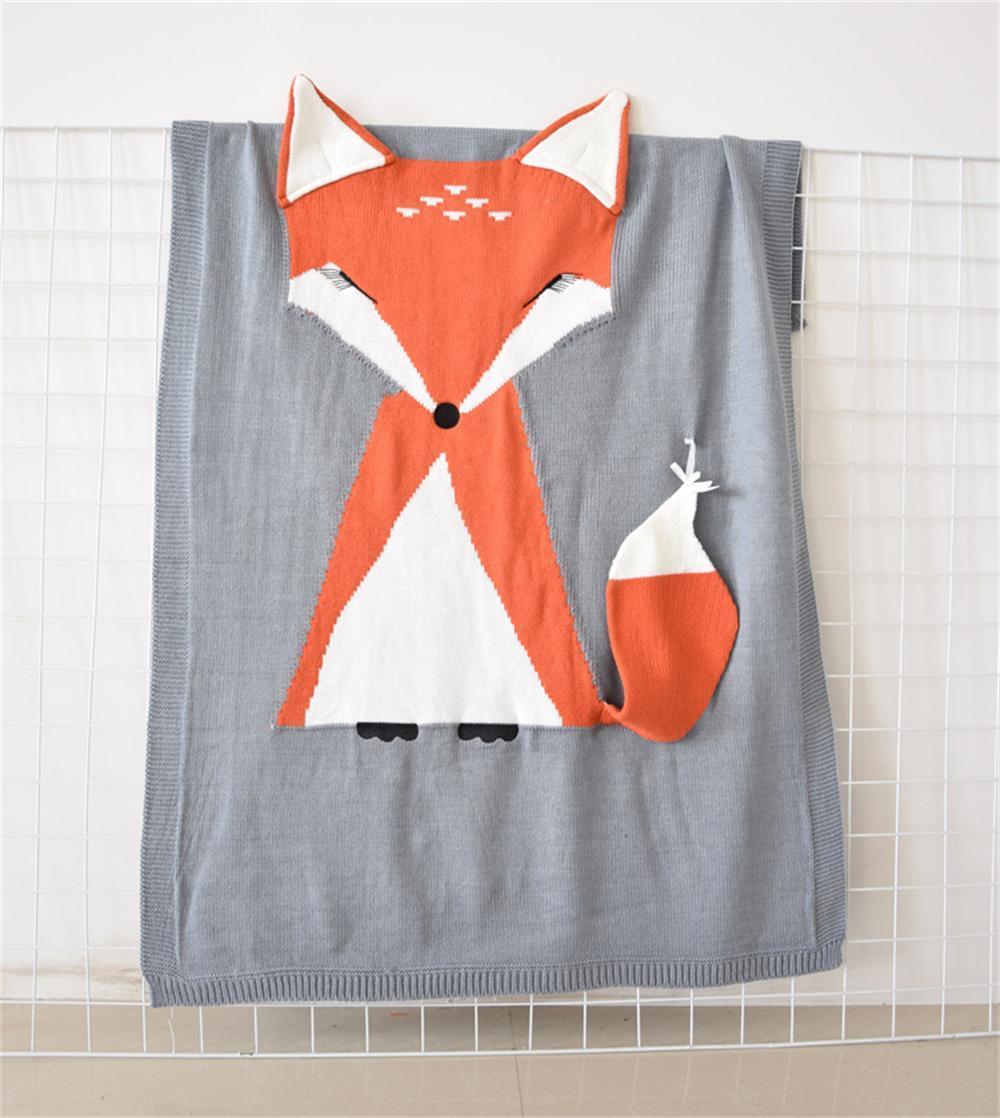 Baby Children INS Knitting Blanket Cotton 3D Fox Bear Pattern Decorative Blanket Safa Bed Boy Girls Photo Background Blanket