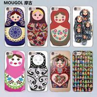 MOUGOL Russian dolls design transparent clear hard case cover for Apple iPhone 7 7Plus 6S 6 Plus 5 5s SE 5C