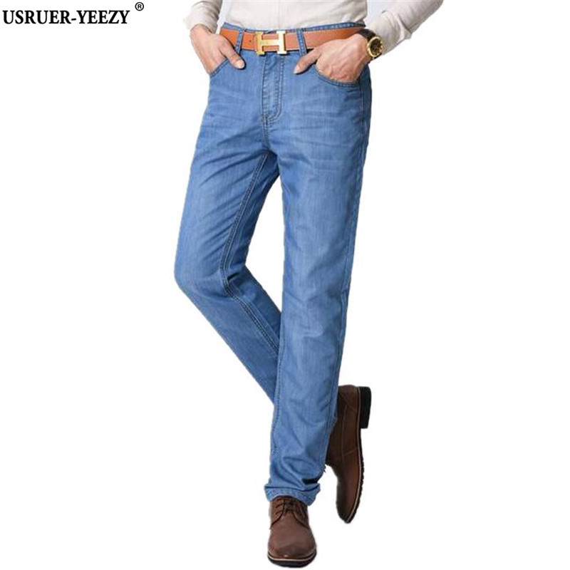 USRUER-YEEZY Spring Super Jeans Men's 2017 New Design Stretch Slim Fitness Straight Casual Men Jeans Pants Male Denim Trousers