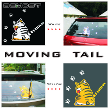 BEMOST Auto Accessories Cartoon Animal Funny Cat Moving Tail Stickers Reflective Car Window Wiper Decals Styling