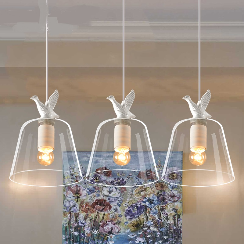 Nordic restaurant Pendant Light creative personality living room corridor modern lamp glass white duck pendant Lamps FG868 цена