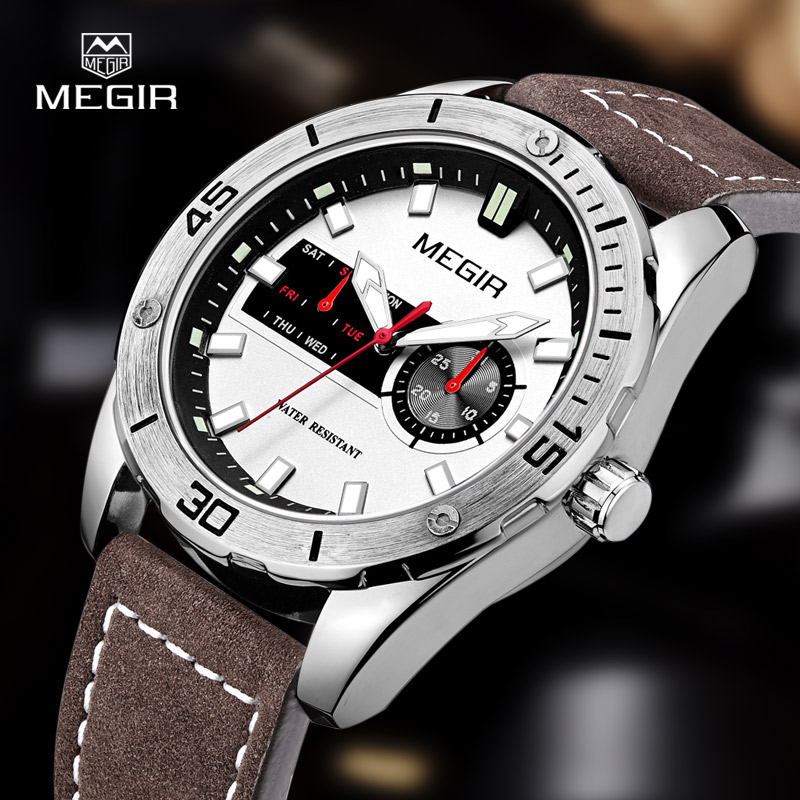 hot men MEGIR 2016 quartz watch leather fashion shows man relogio top brand wristwatch luxury luminous hour male 1063 megir fashion sport quartz watches men casual leather brand wristwatch man hot waterproof luminous stop watch for male hour 2015