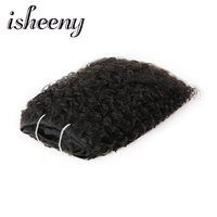 Isheeny Brazilian Kinky Curly 6Pcs Clip In Human Hair Extensions 10 24inch Full Head Sets Natural Color 100% Remy Hair 120g/Pc