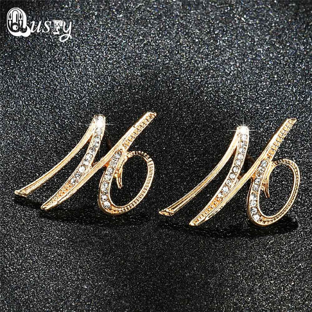 earrings jewelry item letter fashion arrival crystal colors new b for qusfy women stud