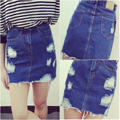 fbd8efff98ac 2015 Summer Fashion Women s High Waist Skirts Hole Ripped Skirts Washed  Denim Skirt Jeans Mini Short Skirts For Women Saia Jeans