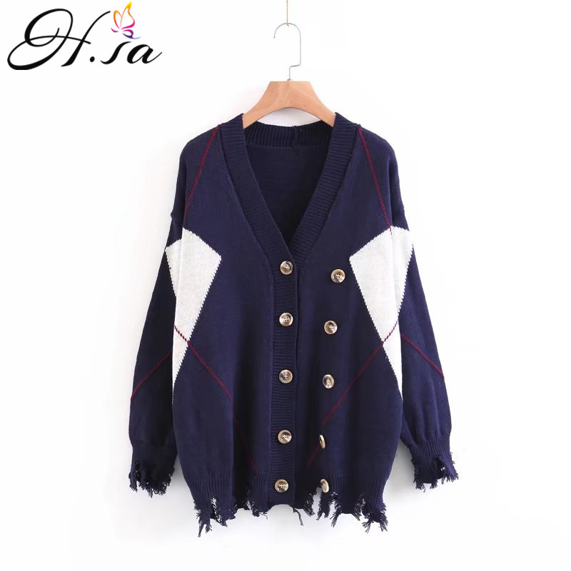 H.SA Women Sweater Cardigans Autumn V neck Geomertric Knit Jacket Patchwork Double Breasted Oversized Cardigan Sueter Mujer 2017