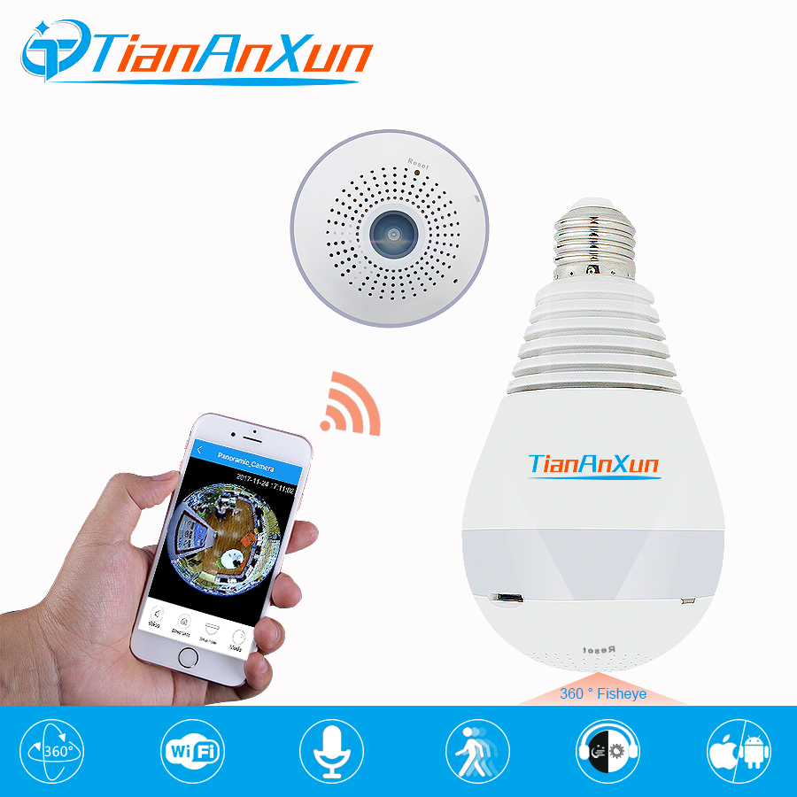 TIANANXUN Bulb Wireless IP Camera Smart Home Security 960P 360 degree FishEye Panoramic Camera 3D VR night vision wifi Camera