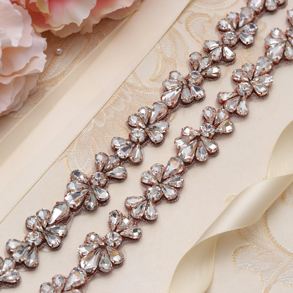 MissRDress Crystal Wedding Belt Rose Gold Rhinestones Bridal Belt Jeweled Flower Bridal Sash For Wedding Evening Dresses JK808
