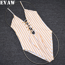 Evaw 2019 One Piece Swimsuit Women Striped Swimwear Bathing Suit Womens Swim Suits Monokini One-Piece Bodysuit