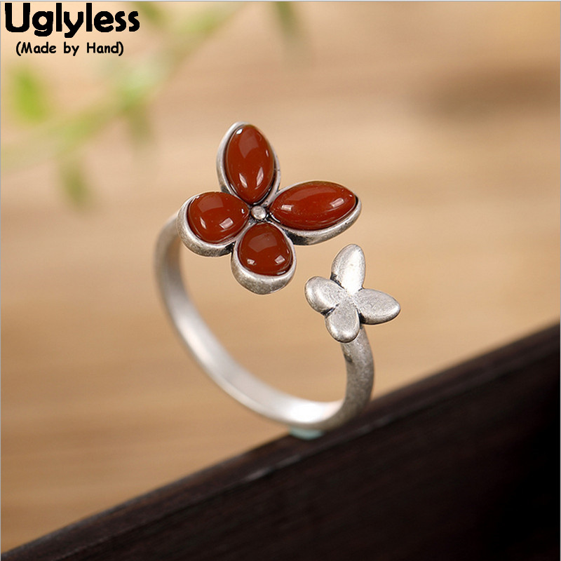 Uglyless Handmade Butterfly Open Rings for Women Nature Agate Clover Finger Ring Solid 925 Sterling Silver Fine Jewelry Gemstone