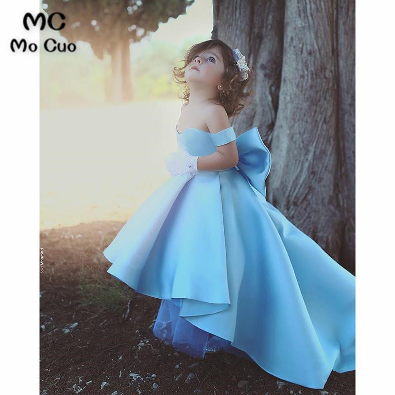 2018 A-Line   Flower     Girl     Dress   first communion   dresses   for   girls   with Bow kids evening gowns   flower     girl     dresses   for weddings