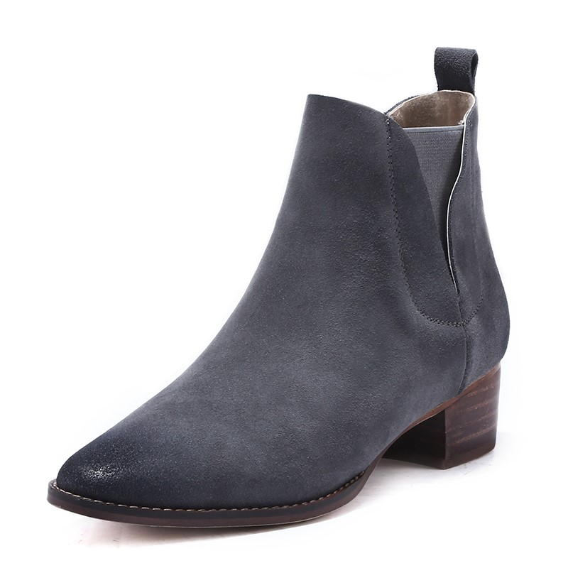 ФОТО Spring/Autumn Full Grain Leather  ankle boots Slip-On Square heel Nubuck Leather Mixed Colors  Square Toe