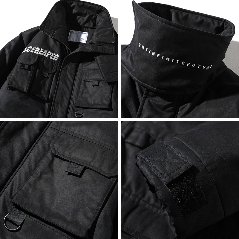Men Winter New Stand Collar Cargo Parkas Jacket Male Casual Cotton Padded Coat Streetwear Long Warm Think Jacket Overcoat