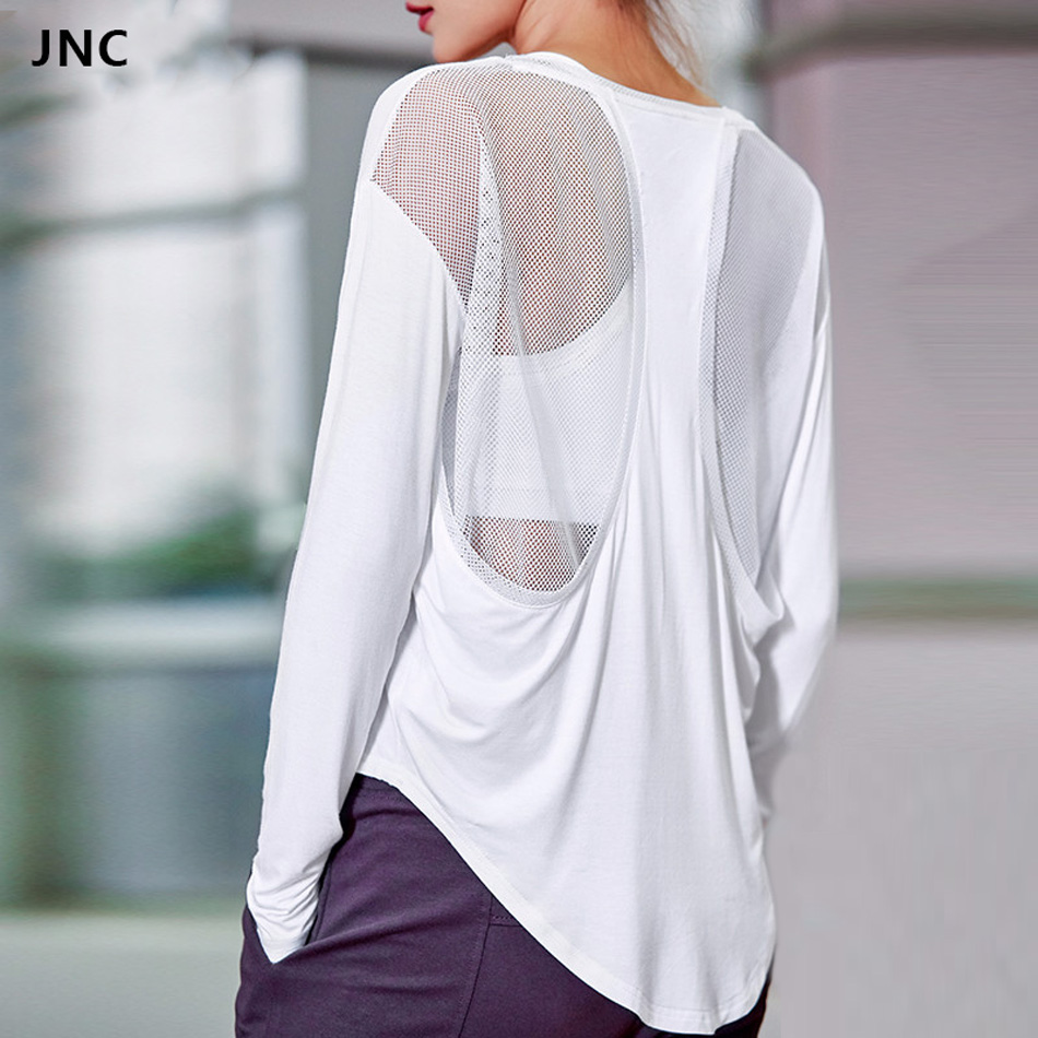 Mesh Sexy Back Patchwork Yoga Shirts for Women Long Sleeves Gym T- Shirts Top Loose U Neck Fitness Sports Tops Workout Clothes white slit design round neck long sleeves crop top