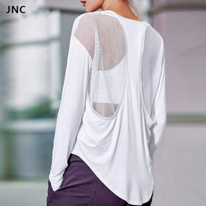 800fe1ac03ee9 Long Sleeves Gym T-Shirts for Women Top Workout Clothes Mesh Sexy Back  Patchwork