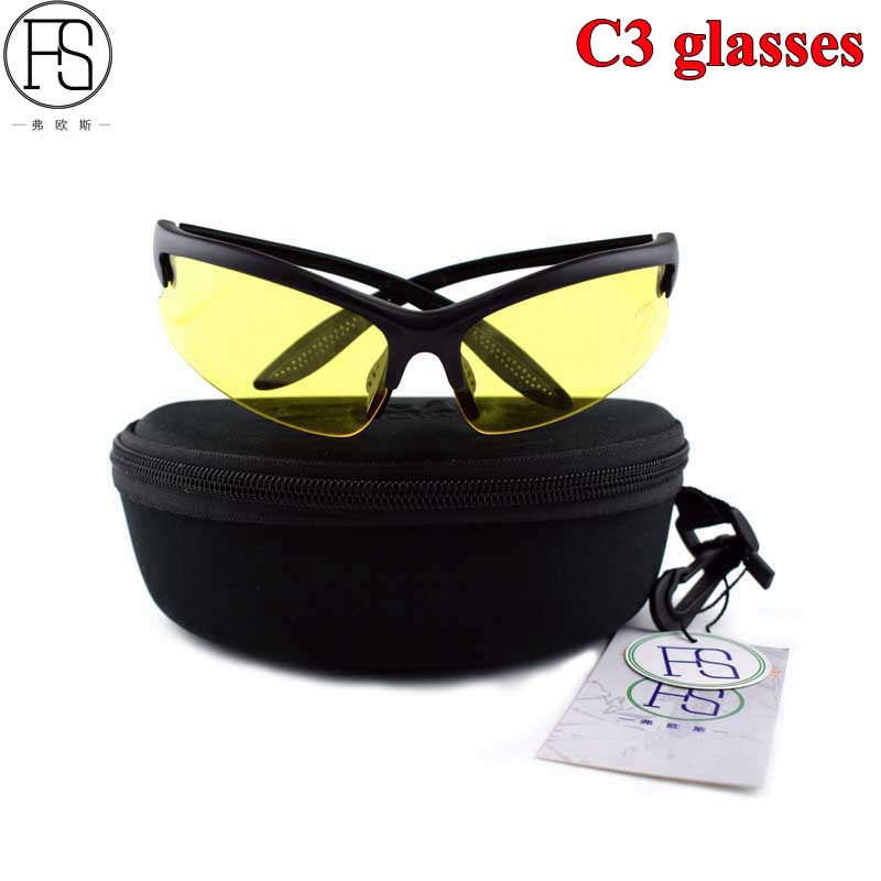 New FS C3 Sport Cycling Sunglasses Men Bike Glasses Tactical Oculos Airsoft Hunting Glasses Oculos Ciclismo Hiking Gafas 4 Lens