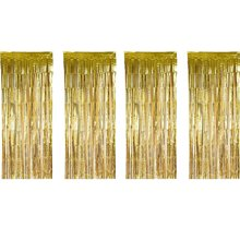 METABLE 4 Pack Foil Curtains Metallic Fringe Shimmer Curtain for Birthday Wedding Party Christmas Decorations (Gold)