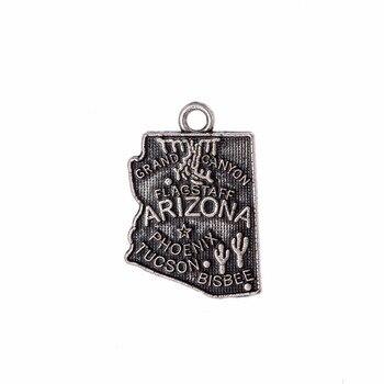 My shape Arizona America State carte breloque Antique pour bricolage Bracelet pendentif fabrication de bijoux 14*20mm 30 pièces/lot