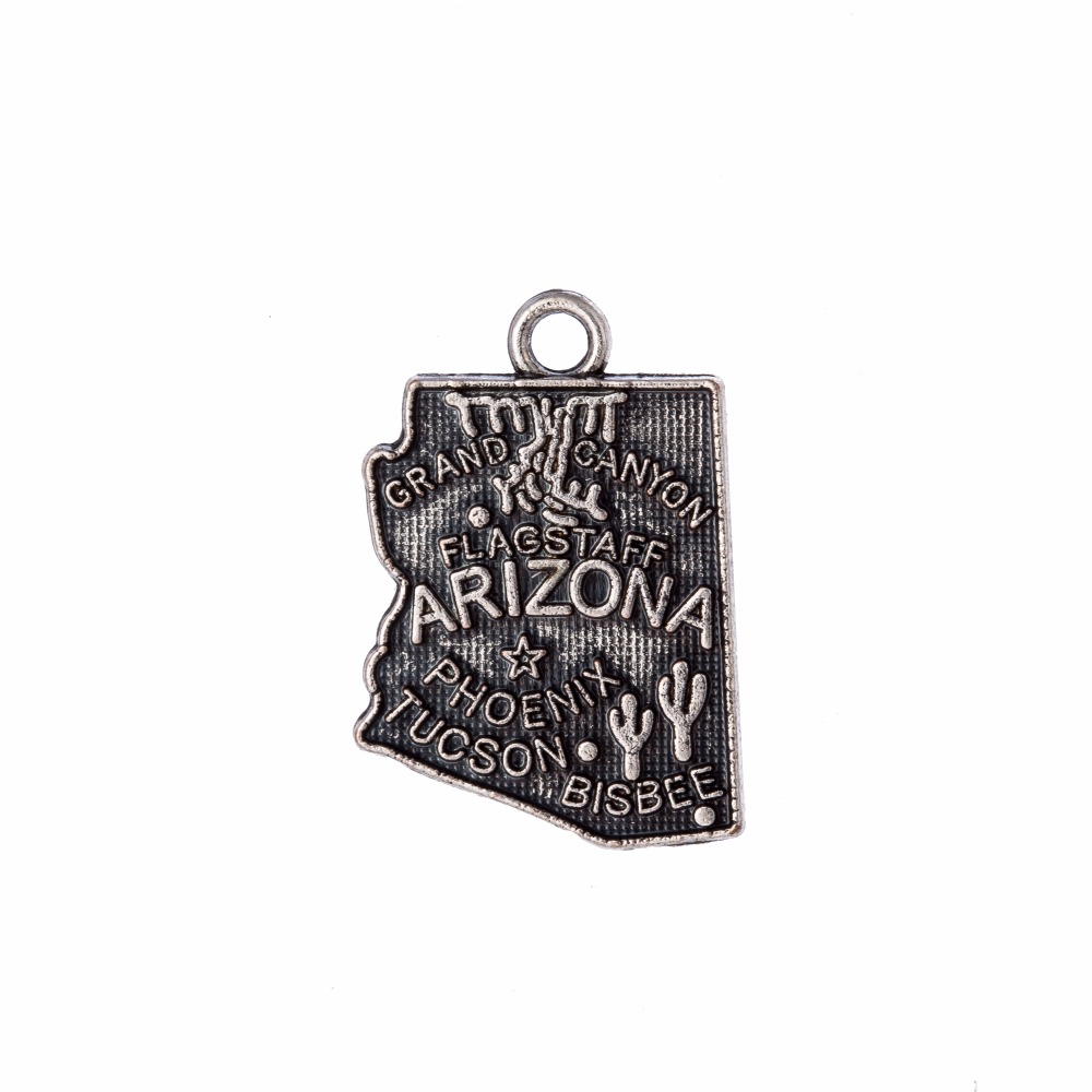 my shape Arizona America State Map Charm Antique Fit For Diy Bracelet Pendant Jewelry Making 14*20mm 40Pcs/Lot
