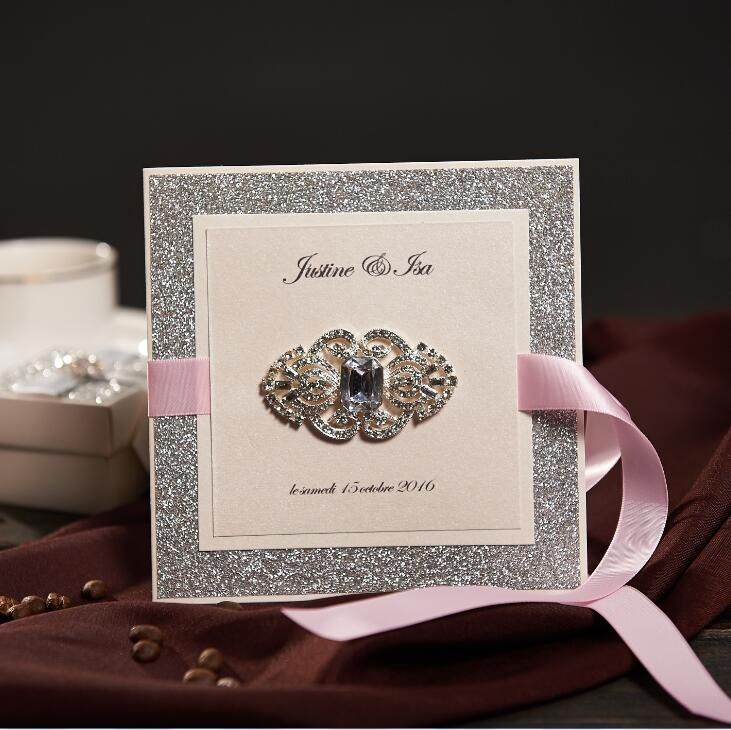 Vintage Sliver Wedding Invitations With Pink Ribbon Custom