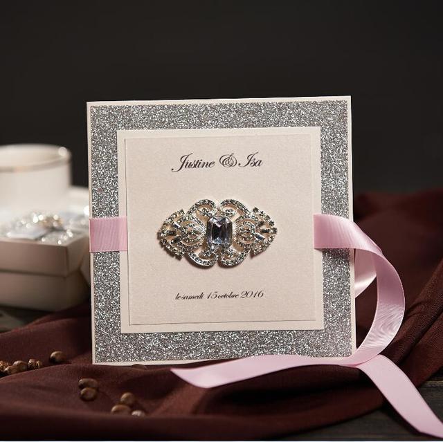 Vintage Sliver Wedding Invitations With Pink Ribbon Custom Birthday