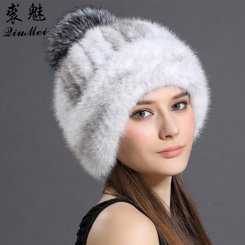 Women's Cap Real Mink Fur Hat Winter Knitted With Fox Fur Pompom Luxury Thicken Mink Hat Casual Fur Hats For Women Beanie Female