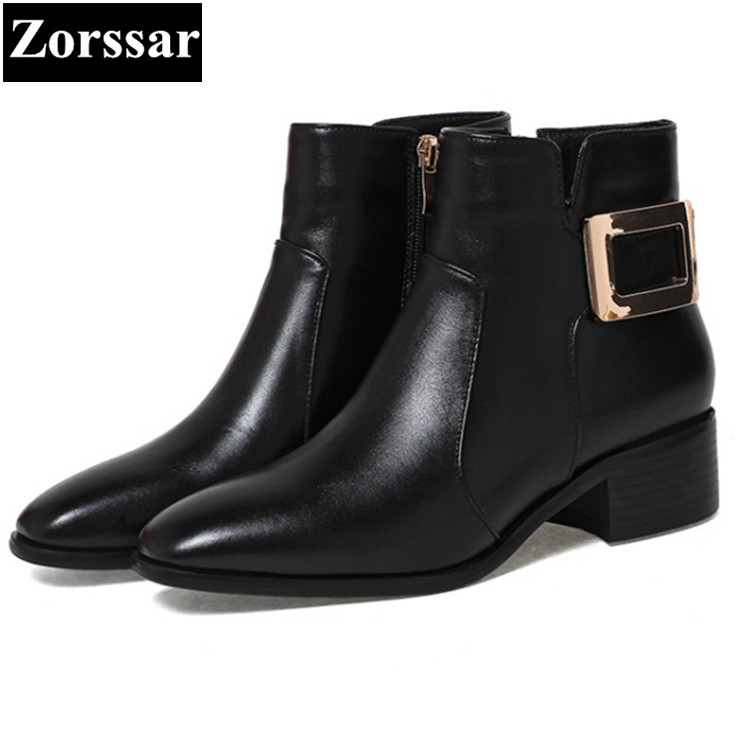 {Zorssar} 2017 NEW fashion buckle low heel Women Chelsea Boots pointed Toe leisure High heel ankle boots winter female shoes famiao women boots sexy high heel zapatos mujer tacon 2017 gary black buckle ankle boots for women shoes pointed toe winter