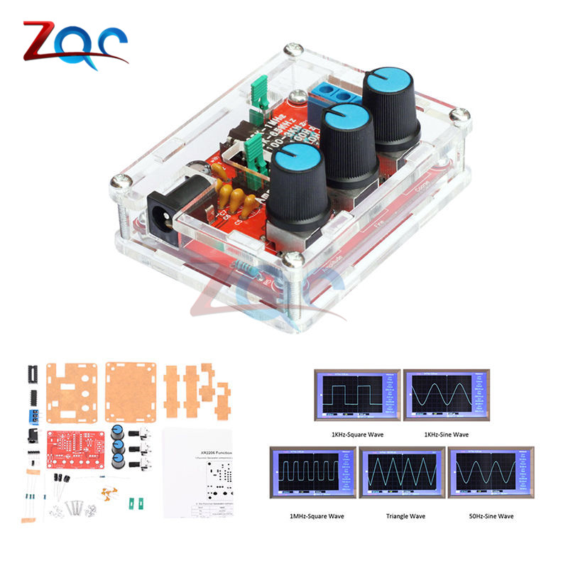 XR2206 Function Signal Generator DIY Kit Sine Triangle Square Wave 1HZ-1MHZ DDS 10hz 1mhz low frequency function signal audio generator producer rek rag101