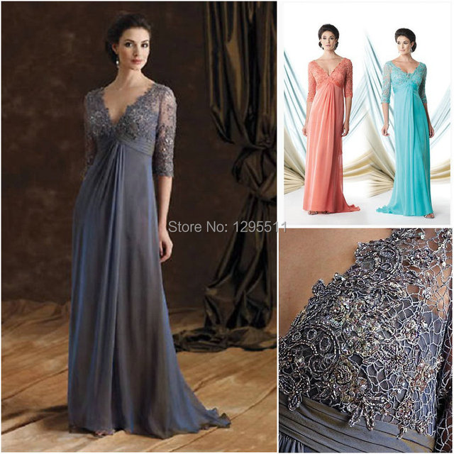 67ad55c7dd3 Glamorous Half Sleeves V-neck Chiffon Empire Waist With Lace Appliques Floor -length Zipper Back Mother Of The Bride Dress