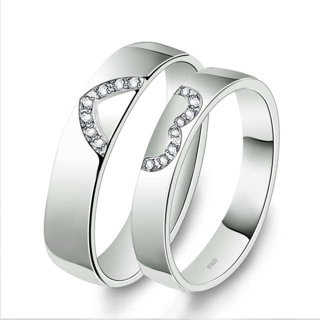 Free Shipping 925 Sterling Silver Plating 18K White Gold Heart