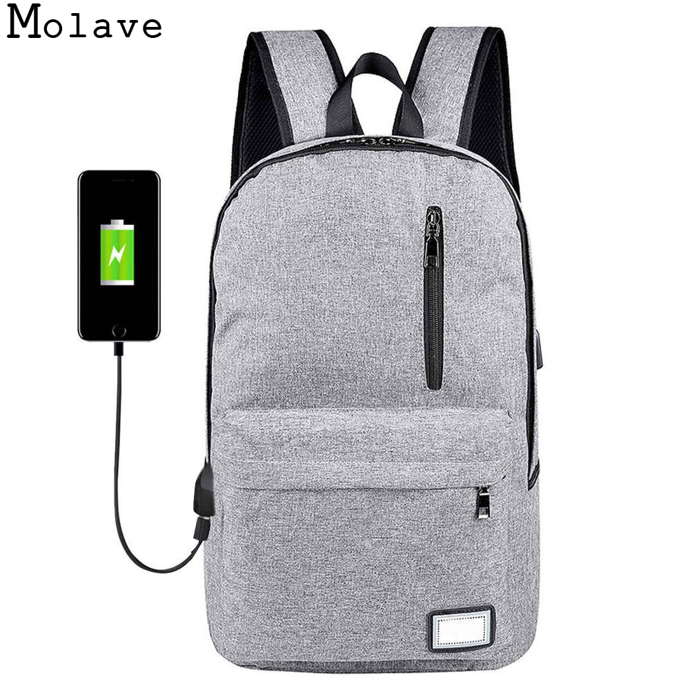 Molave Рюкзаки USB Anti-Theft компьютер мужской серый Сумки рюкзака Путешествия школьная сумка дугообразная плечевой ремень Рюкзаки dec11