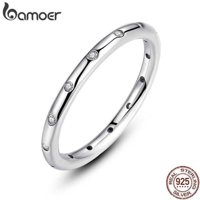 BAMOER 2 цвета 925 пробы серебряные капельки стекируемые пальцев Классический кольцо для Для женщин Свадебные украшения подарок ко Дню Святого Валентина PA7132