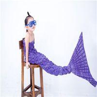 Kids Bedding Sofa Scales Mermaid Blanket Wool Knitting Fish Style Tail Blankets Warm Sleeping Child Kids Princess Loves Gift