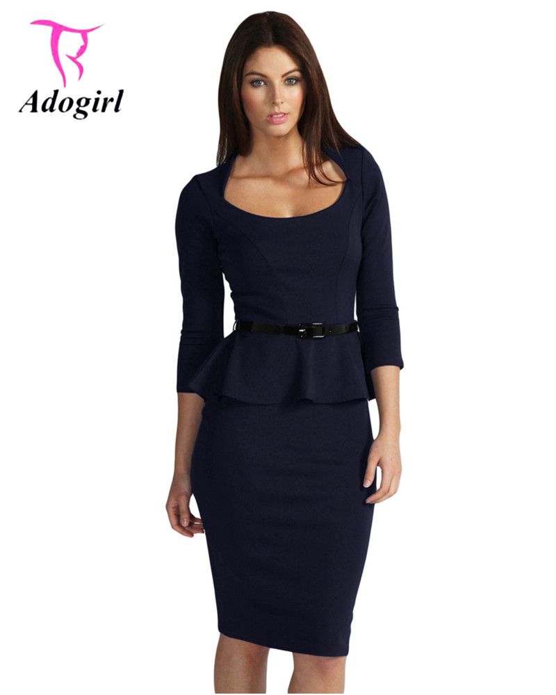 40439f417b4 Adogirl Office Lady Autumn Slim Dress Ruffles Sashes Dark Blue 3/4 Sleeve  Women Bodycon Midi Dress Formal Pencil Dress for Work