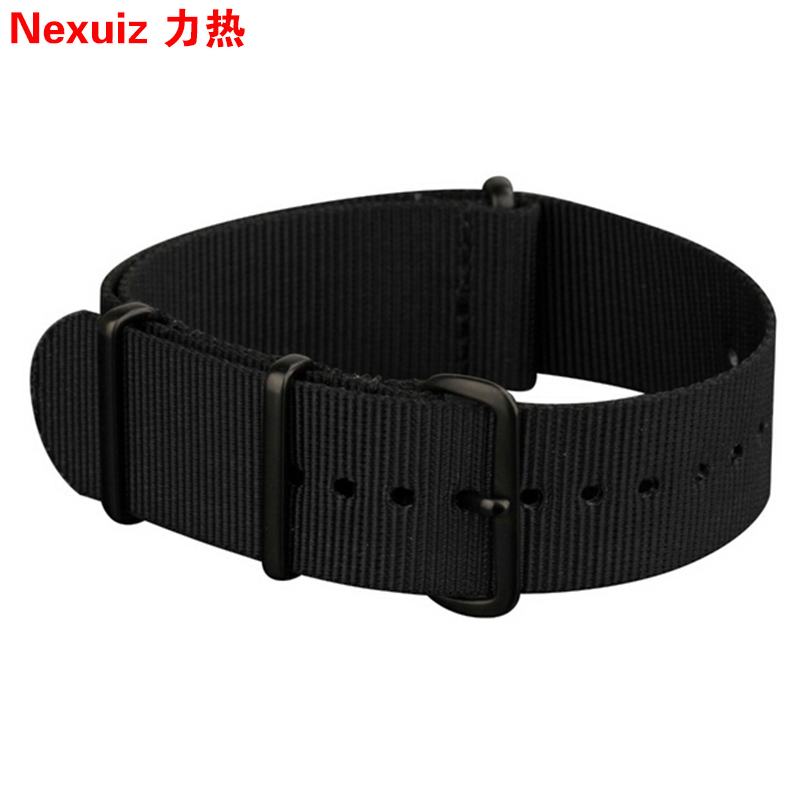HOT18|20|22|24mm NATO Watch Straps All Black Nylon Fabric Watchbands Stainless Steel black Buckle Durable New Watchband Bracelet survival nylon bracelet brown